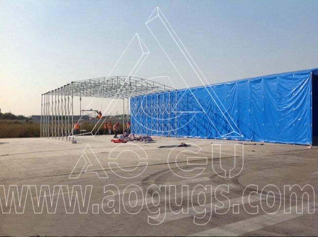 中粮集团移动式仓储活动推拉篷产品演示图3
