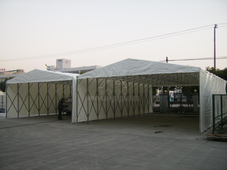 工厂移动伸缩活动仓储推拉篷