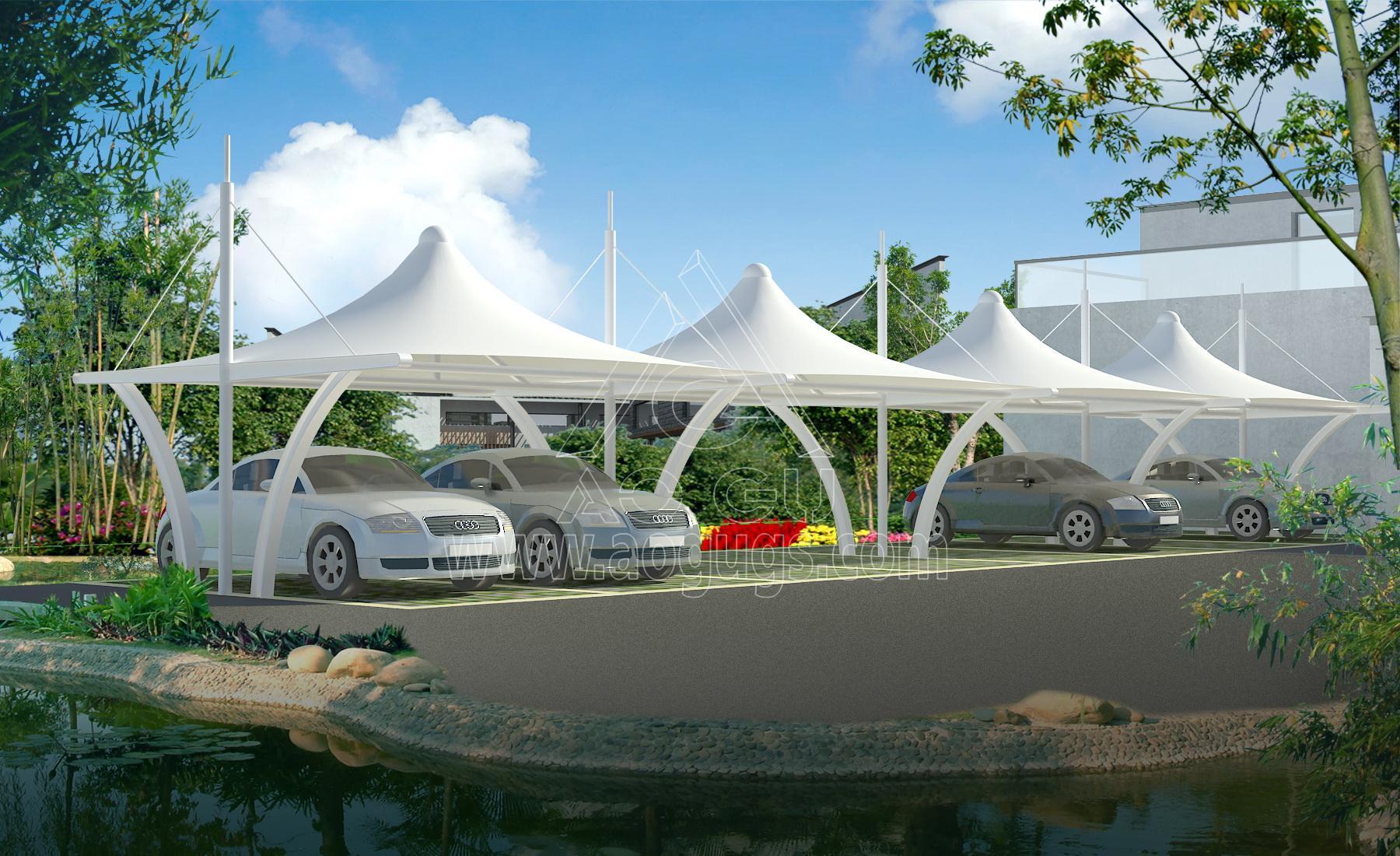 膜结构汽车停车棚全套效果图片大全产品演示图1