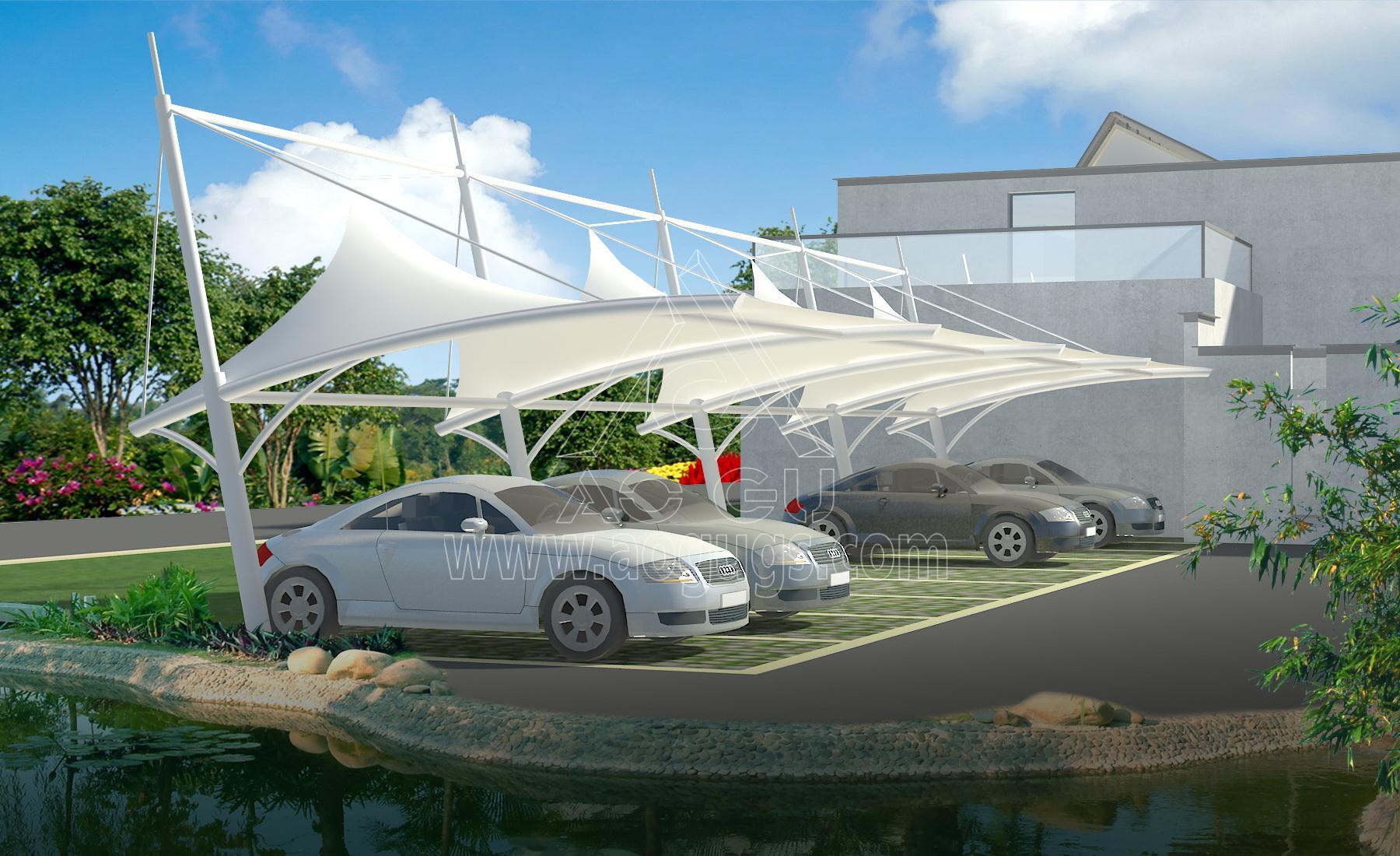 膜结构汽车停车棚全套效果图片大全产品演示图2