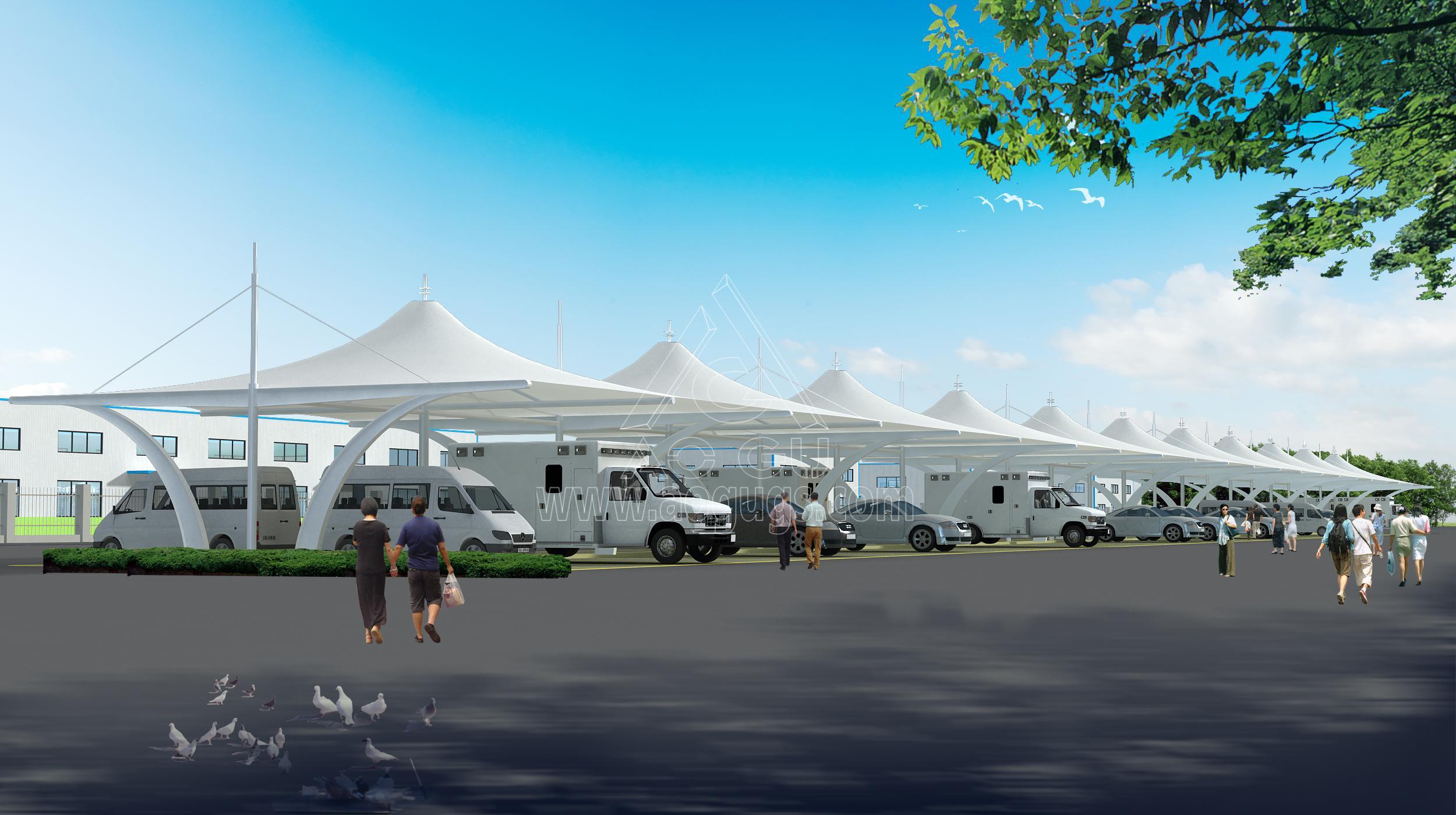 膜结构汽车停车棚全套效果图片大全产品演示图4