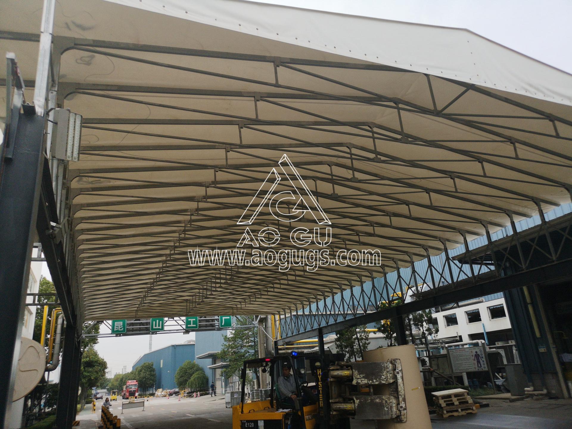 装货区 卸货区伸缩开合式篷房 艾利中国昆山公司 产品演示图1