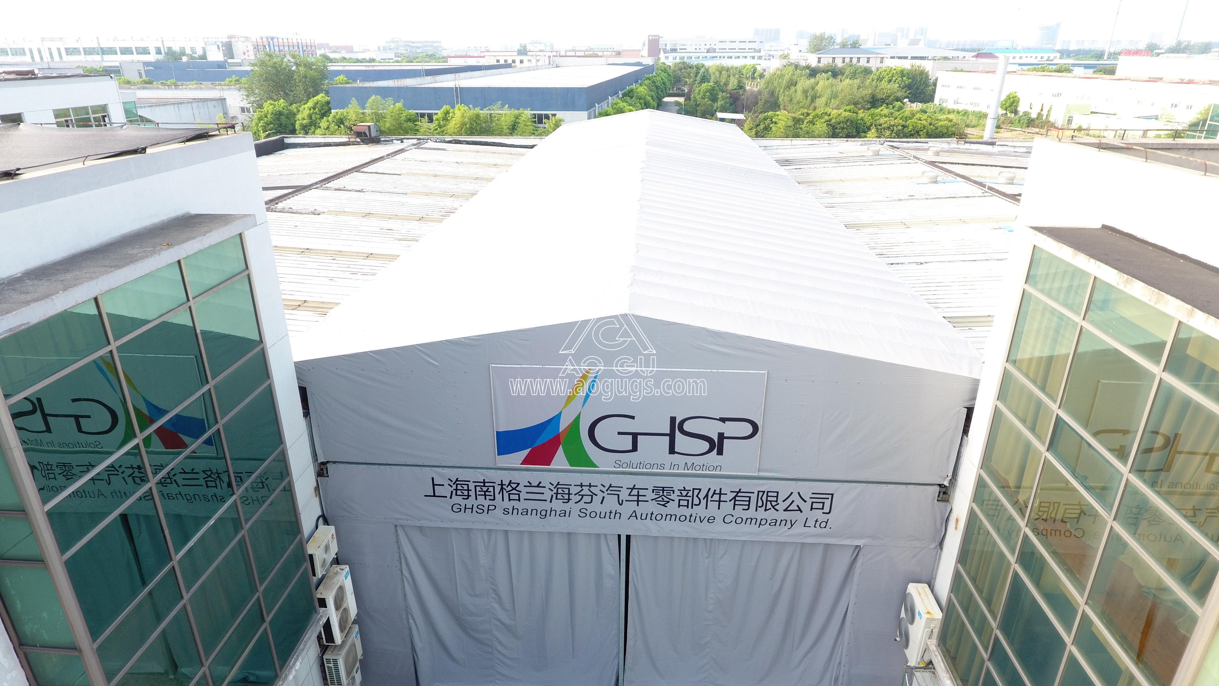 美国工厂厂房之间电动伸缩活动架空推拉篷