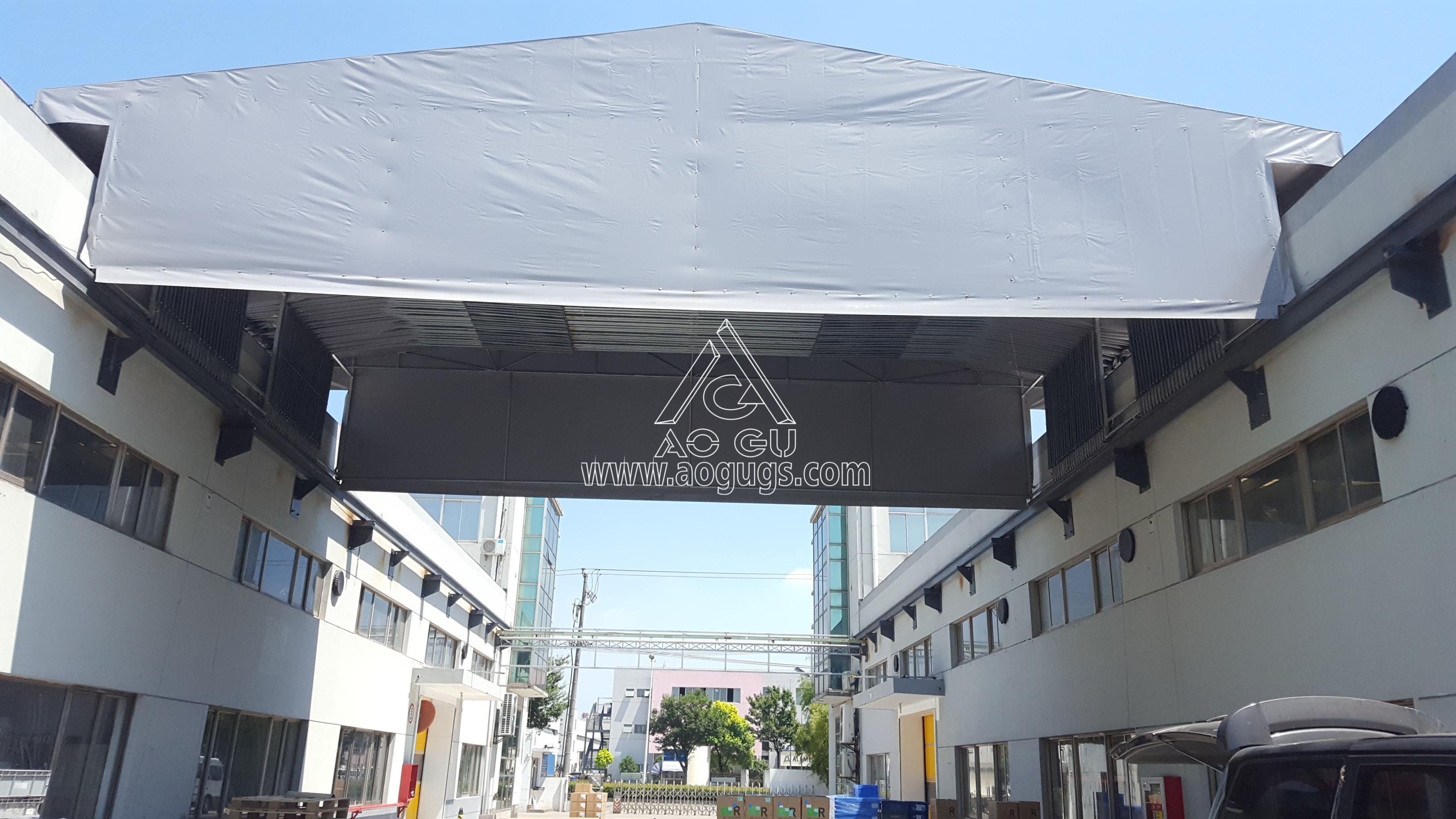上海美国工厂 厂房之间 手动伸缩活动 架空推拉篷案例产品演示图3