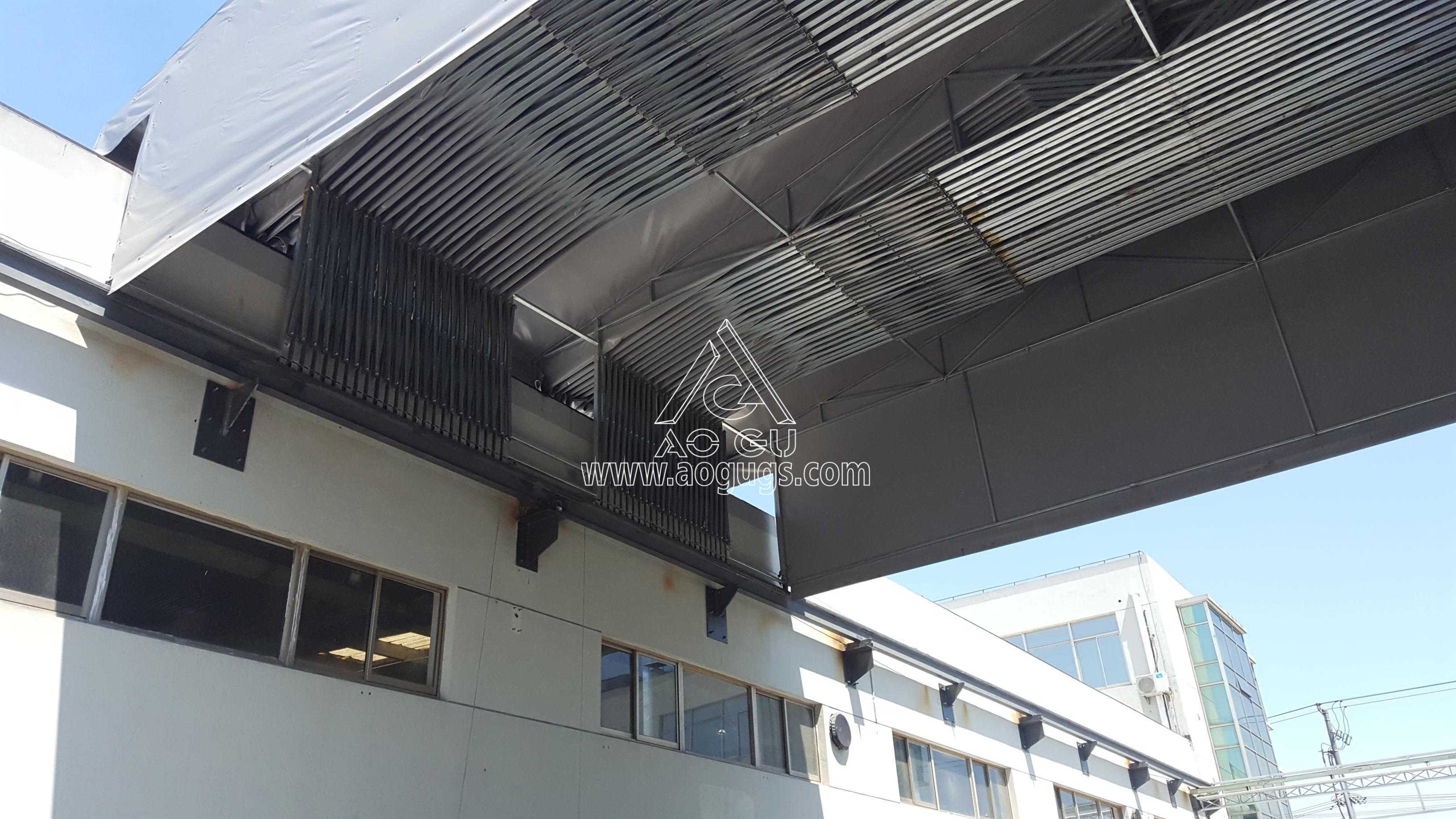 上海美国工厂 厂房之间 手动伸缩活动 架空推拉篷案例产品演示图4