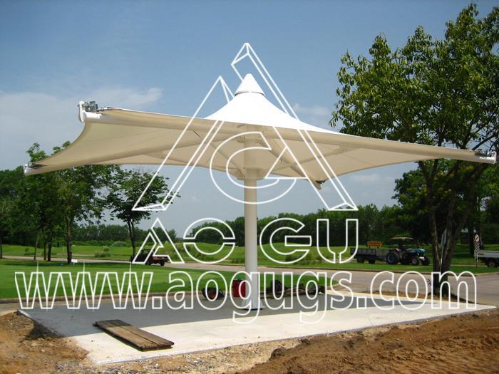 膜结构抗风遮阳伞