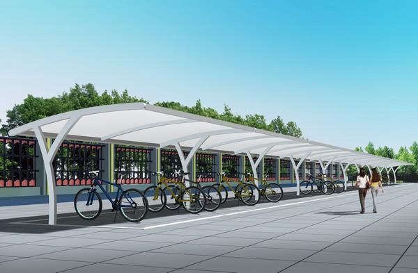 充电自行车棚 自行车棚 车棚产品演示图1