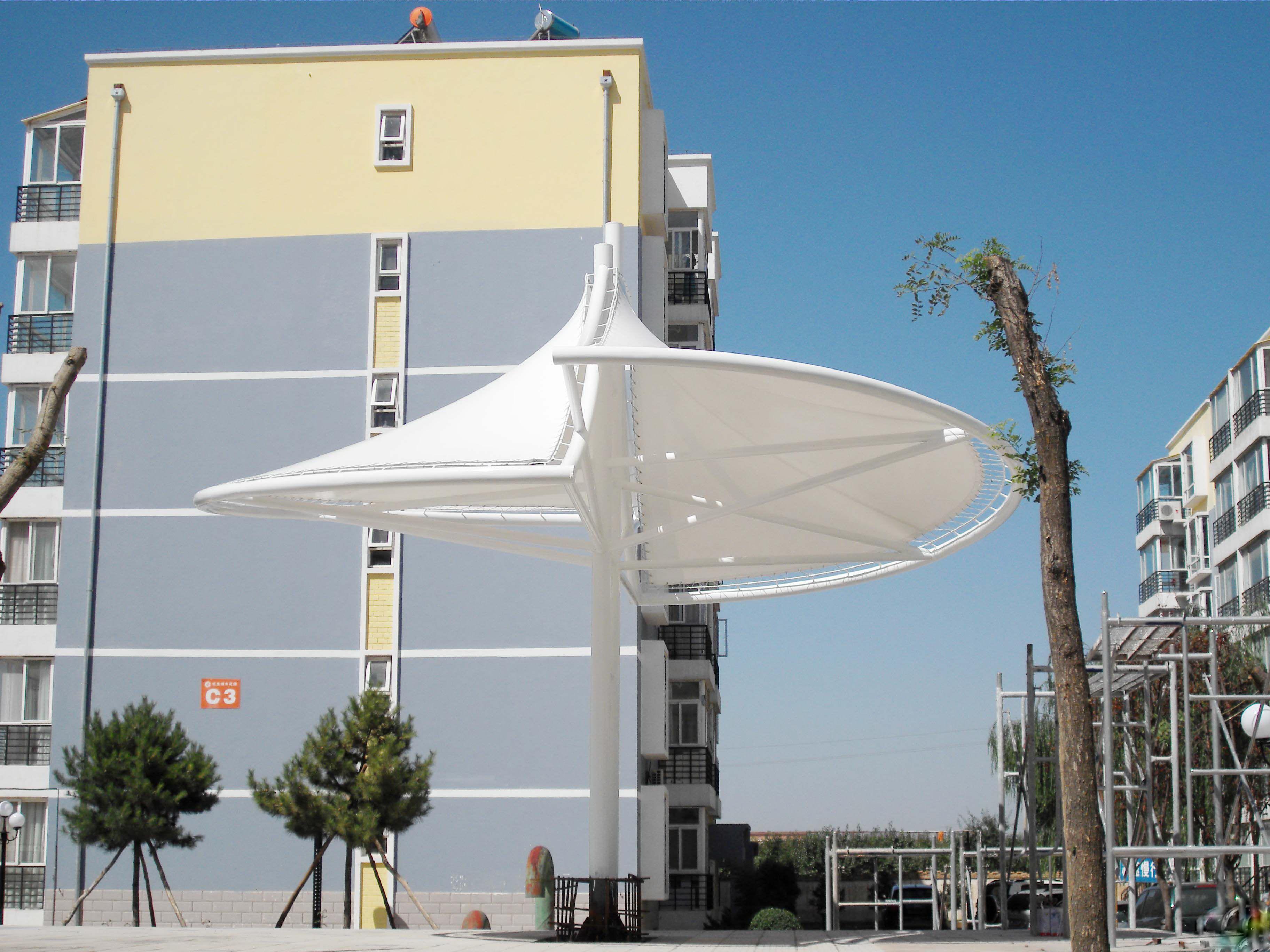 膜结构建筑伞 膜结构建筑遮阳伞 产品演示图2