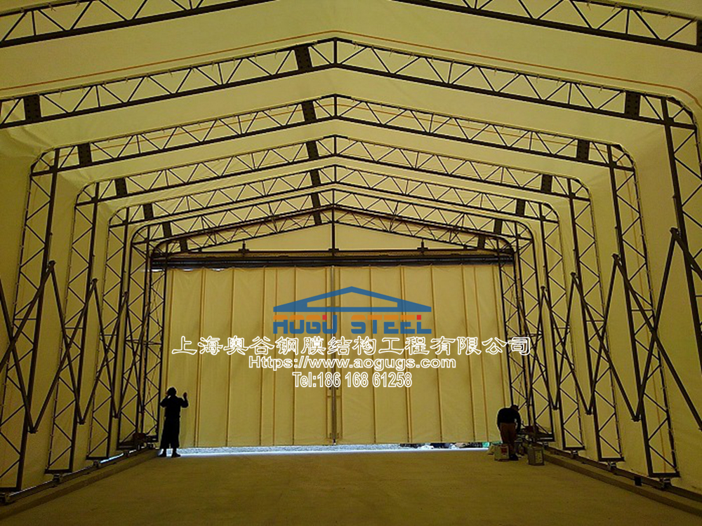活动推拉篷伸缩折叠式帐篷仓库,专业组膜结构山口工业膜 (2).jpg