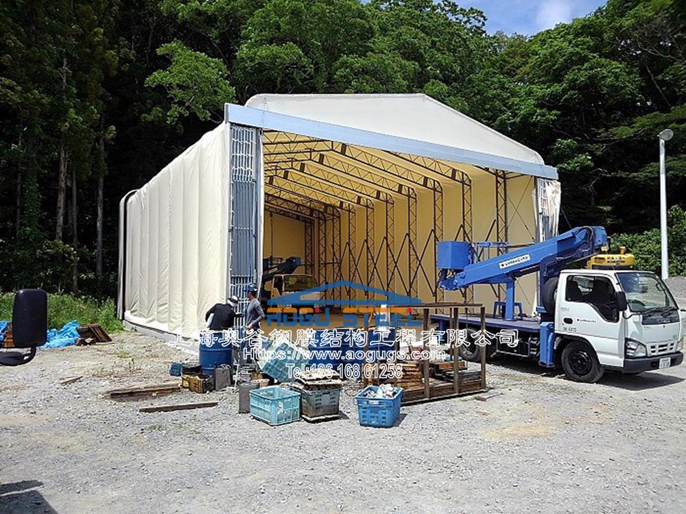 活动推拉篷伸缩折叠式帐篷仓库,专业组膜结构山口工业膜 (1).jpg