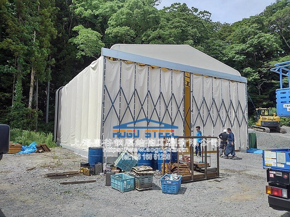 活动推拉篷伸缩折叠式帐篷仓库,专业组膜结构山口工业膜 (3).jpg
