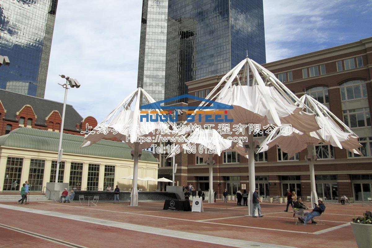 可伸缩的膜建筑景观结构大伞产品演示图4