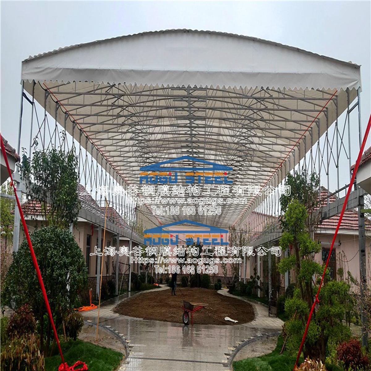 厂房 两房之间 架空 电动伸缩雨棚 现场图片