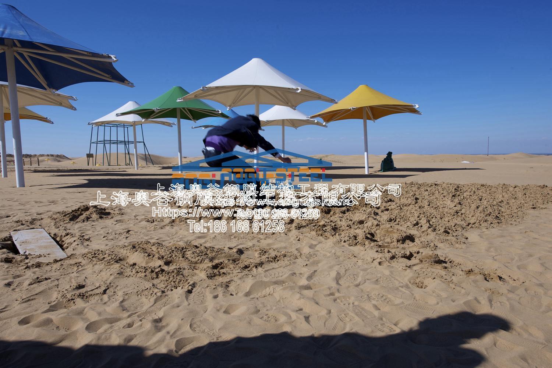 响沙湾景观张拉膜伞造型 产品演示图1