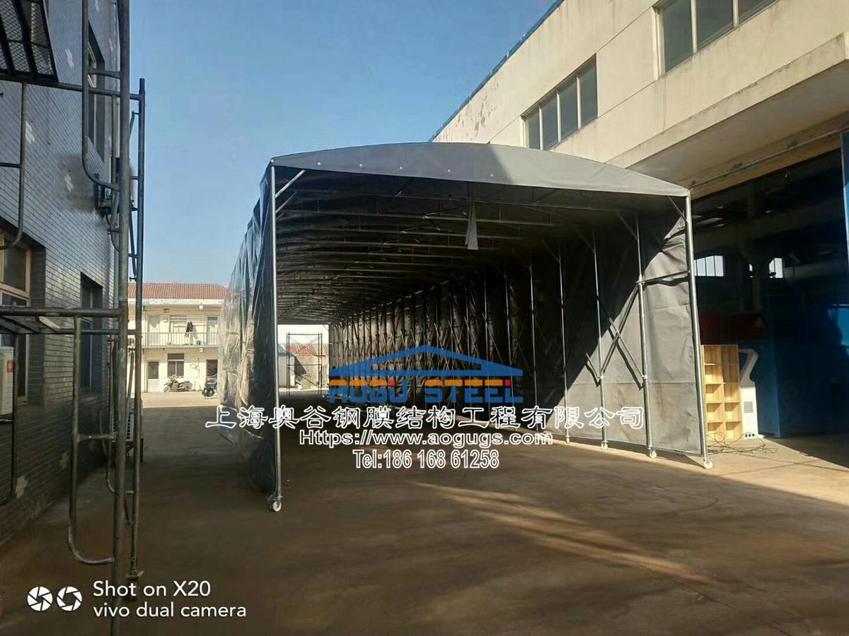 伸缩折叠雨棚施工安装现场资料图片