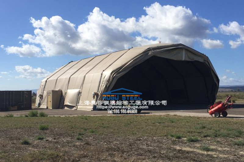 大跨度快速安装可拆装式张拉膜结构机库结构雨棚产品演示图1