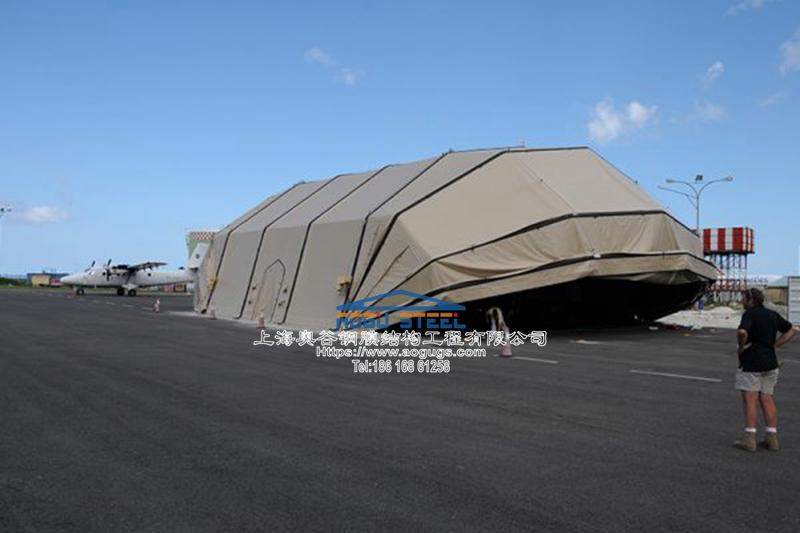 大跨度快速安装可拆装式张拉膜结构机库结构雨棚