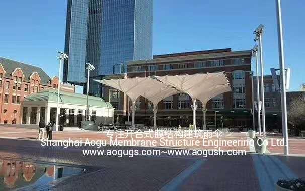 大型户外折叠开合式膜结构建筑雨伞图片视频资料