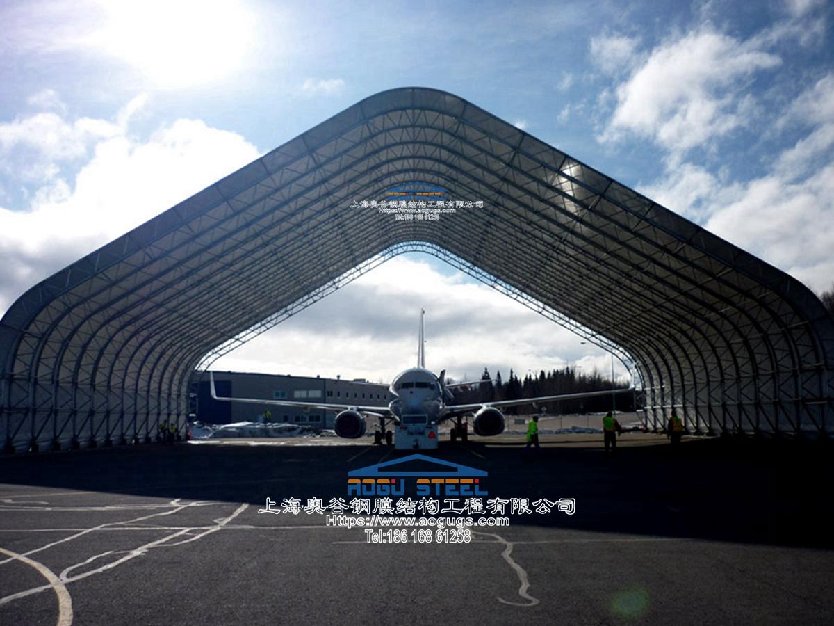 船舶设备维修用大型临时快速组装式篷房 大跨度飞机临时检修伸缩折叠推拉雨棚